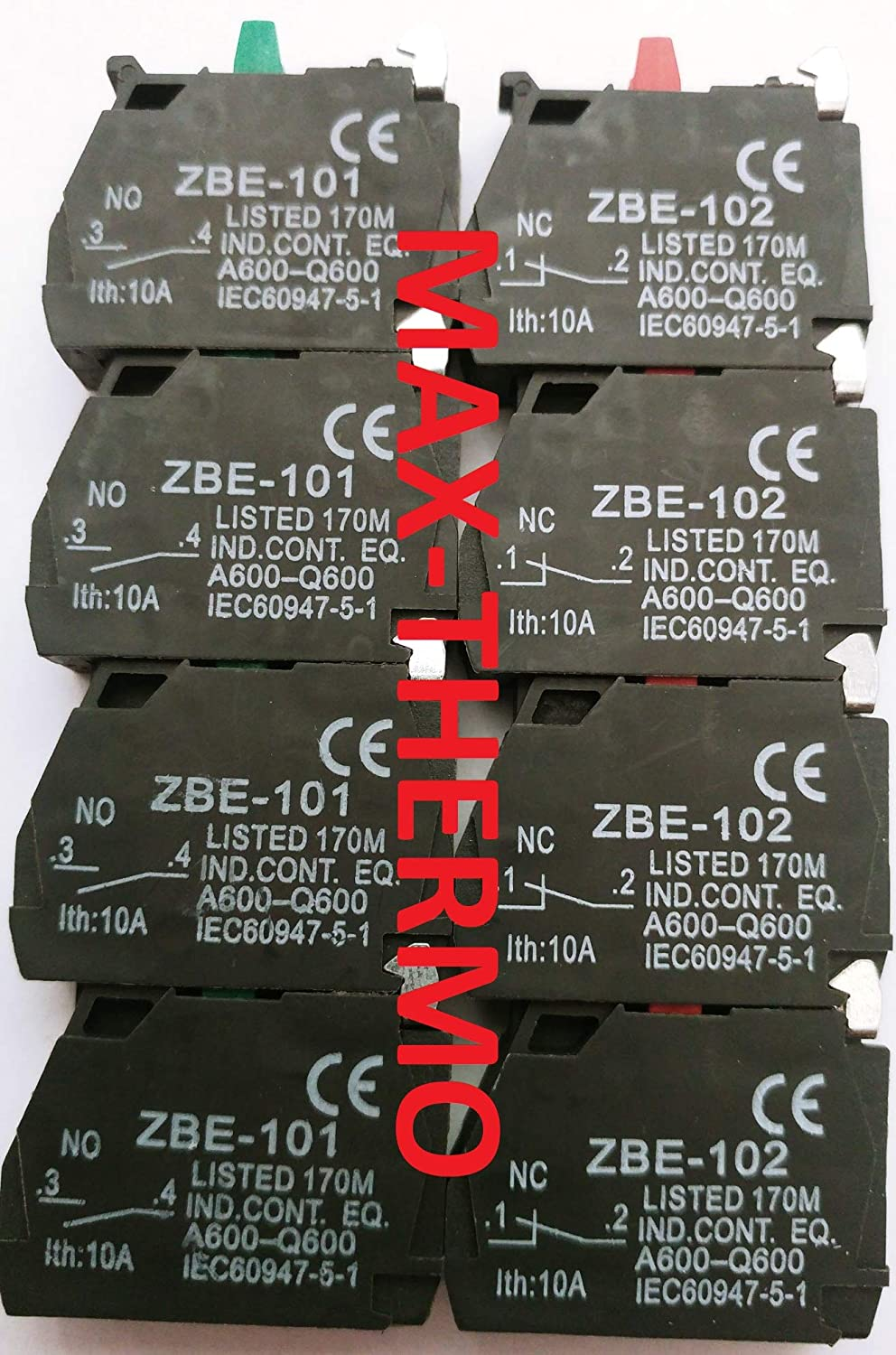 8 pcs. 4 of ZBE-102 + 4 of ZBE-101 FITS for TELEMECANIQUE Schneider Contact Block