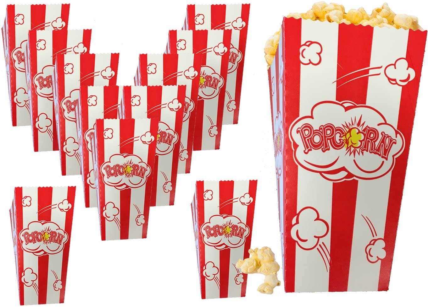 Popcorn Box Small Fresh PopCorn Logo Red White Stripe Classic Party Snack Favor Fun Sized .79 oz Classic style Box (75)