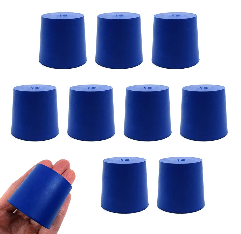 Neoprene Stopper Solid - Blue, Size: 38mm Bottom, 42mm Top, 40mm Length - Pack of 10