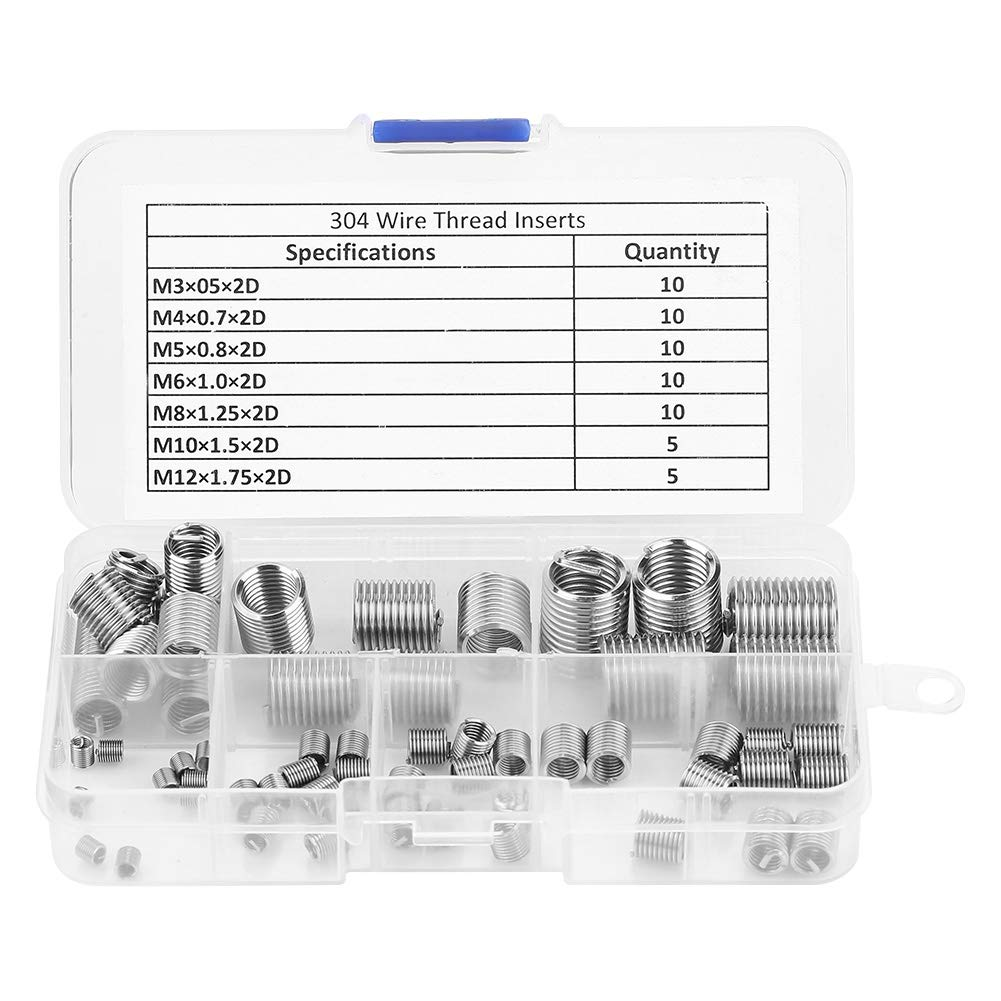Thread Repair Insert, 60pcs M3-M12 Stainless Steel SS304 Coiled Wire Helical Screw Thread Inserts