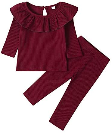 2 Piece Toddler Infant Baby Girl Ribbed Clothes Ruffle Long Sleeve Shirts Tops and Pants Solid Fall Outfits Set