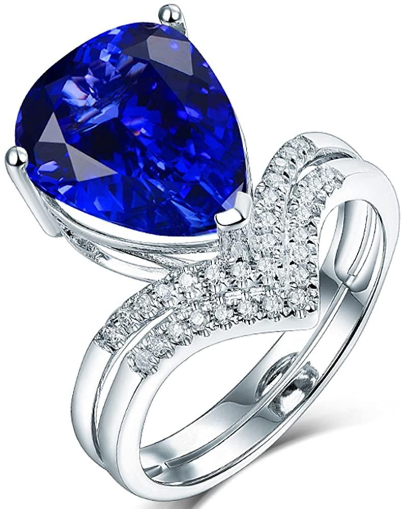 Lanmi 14K White Gold Natural Deep Blue Tanzanite Rings Diamonds Band Engagement Wedding for Women