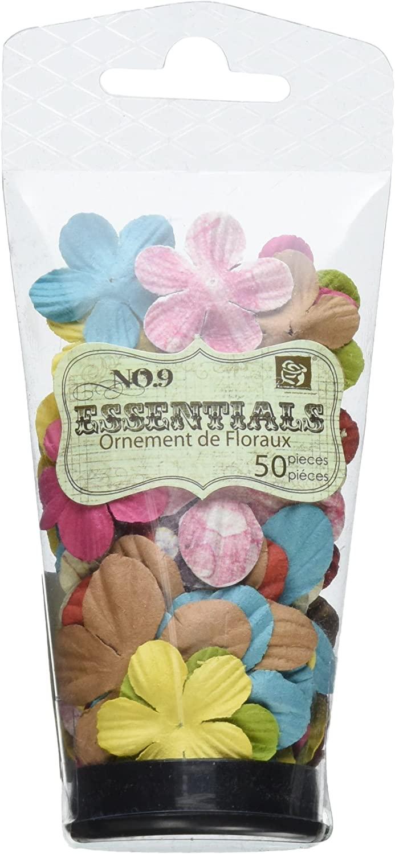Prima 540036 Raspberry Tea Flower Embellishments, Essentials Small Patterned