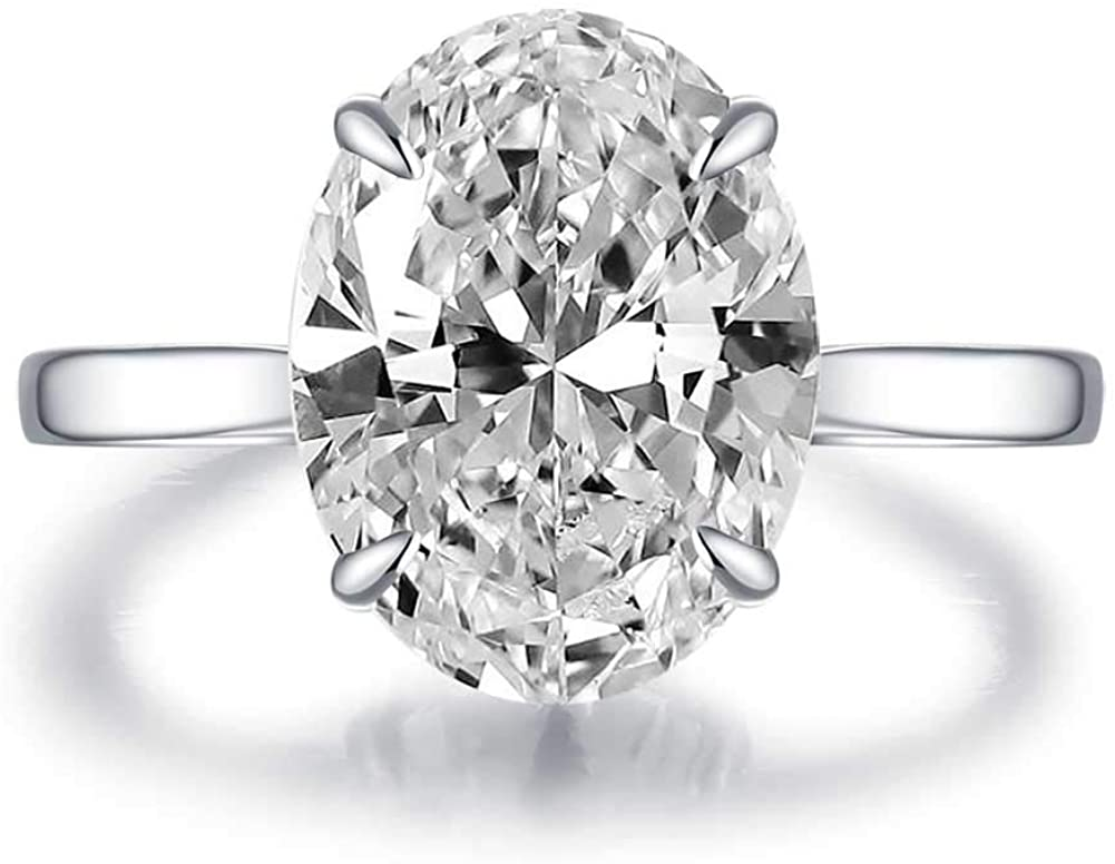 Bo.Dream Rhodium Plated Sterling Silver Oval Cut 4ct Cubic Zirconia CZ Solitaire Engagement Ring