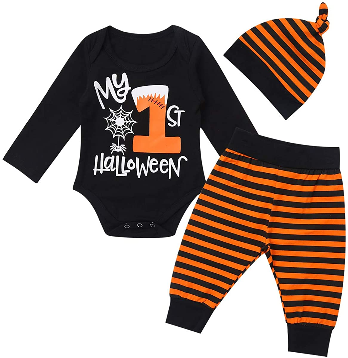 Freebily Infant Baby Boys Girls My 1st Halloween Outfit Long Sleeves Romper Bodysuit with Striped Pants Beanie Cap Set Black 3-6 Months