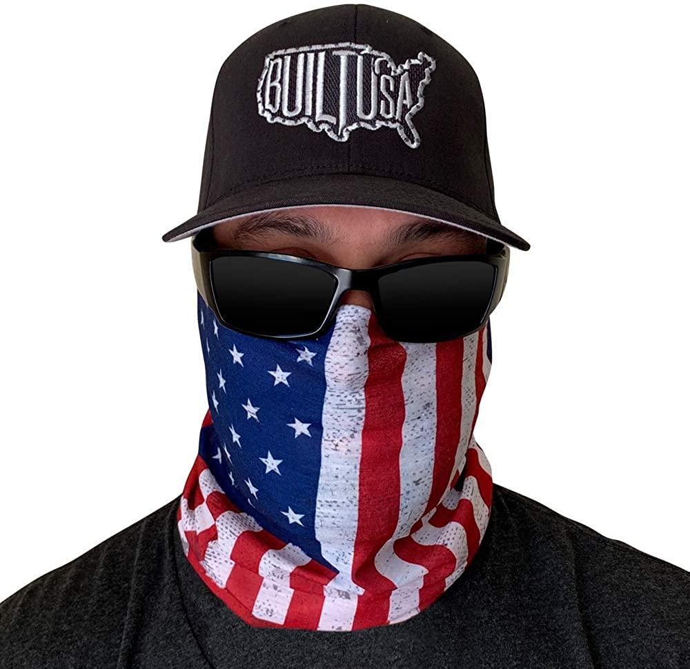 American Flag, Official Blackout, Skull Bandana Face Mask, Headband, Neck Gaiter