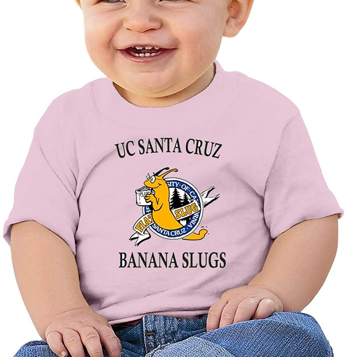 6-24 Months Boy and Girl Baby Short Sleeve T-Shirt Uc Santa Cruz Banana Slug Elegant and Simple Design Pink