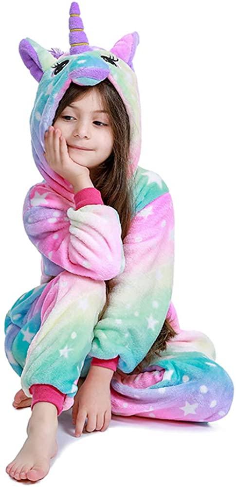 Kids Unicorn Onesie Animal Pajamas Halloween Cosplay Costume Sleepwear Gift for Girls and Boys