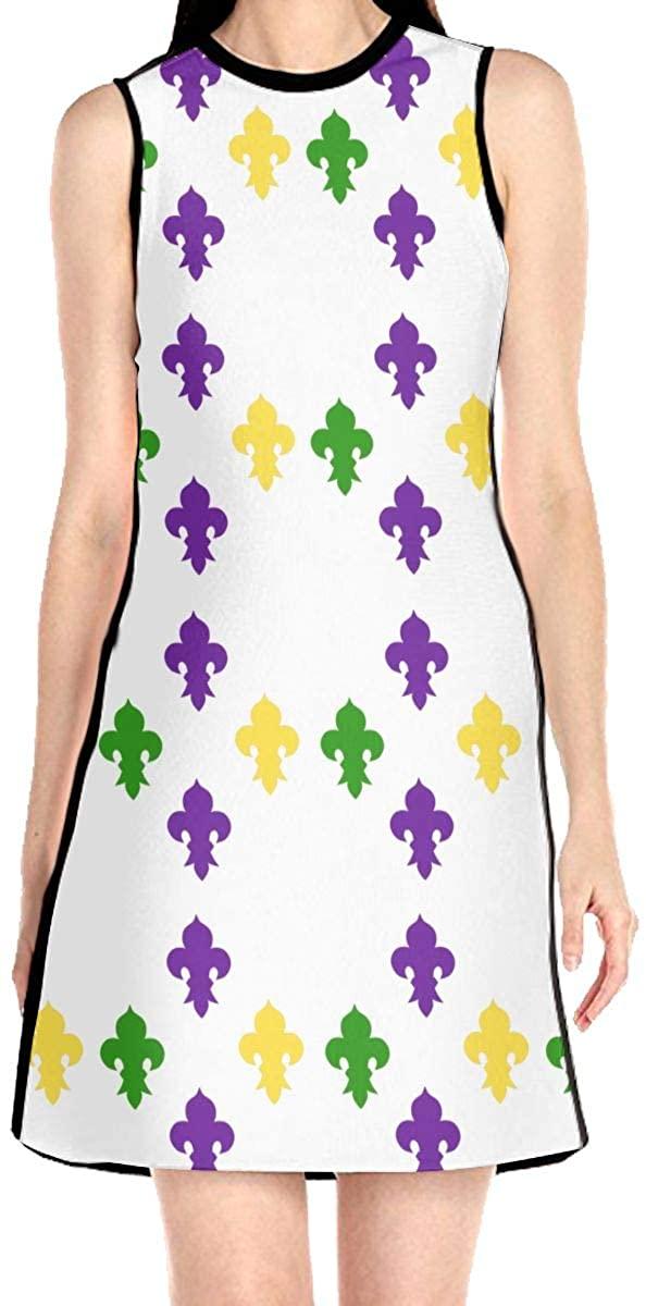Mardi Gras Fleur De Lis Women's Sleeveless Dress Casual Slim A-Line Dress Tank Dresses