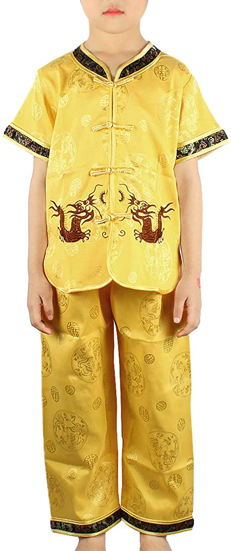 Andux Land Dragon Kungfu Outfit Embroidery Dragon Suit Chinese Tang Clothes GFTZ-01 (Yellow, 110cm)