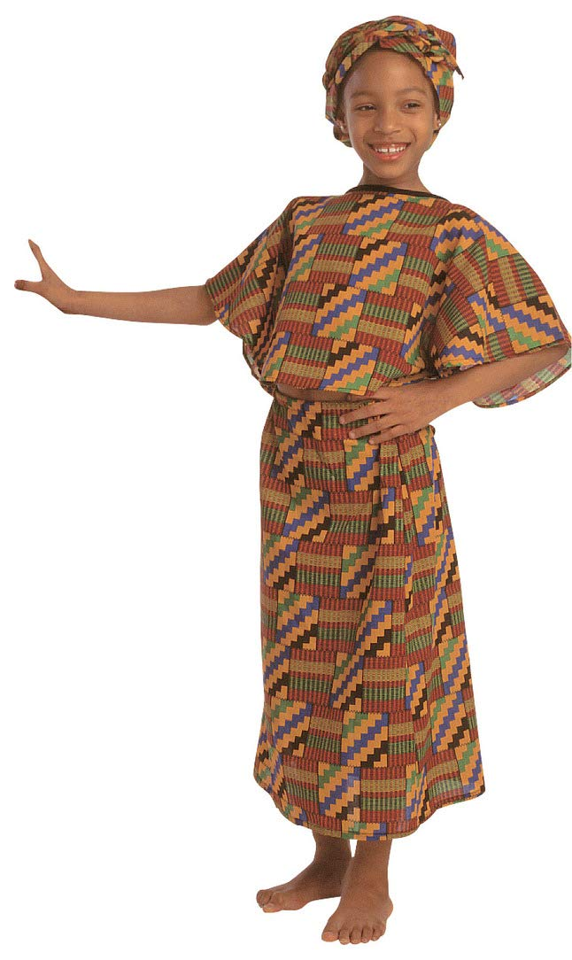 Childrens Factory Multi-Ethnic Costume, African Origin, Dress and Scarf