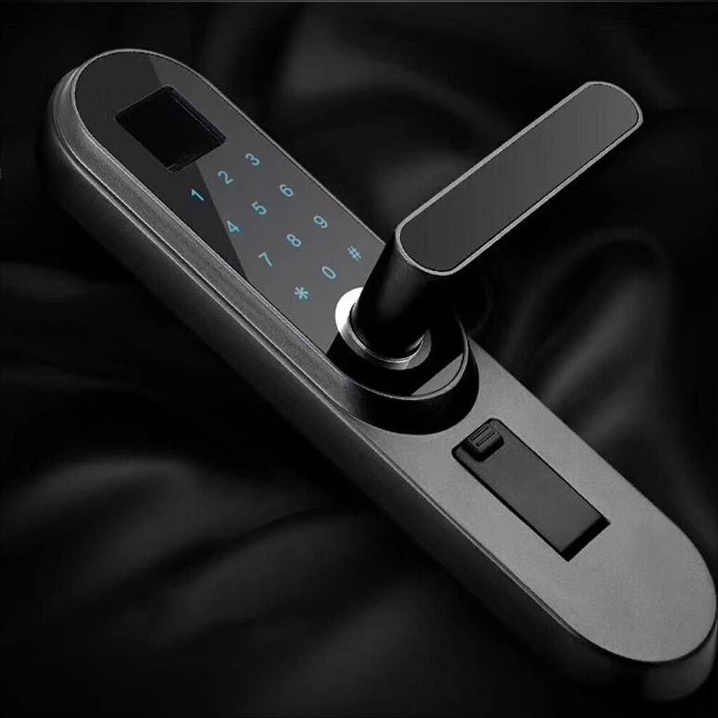 Handle Electronic Locks Smart Door Lock Set Indoor Door Intelligent Lock Fingerprint Password Keys (Color : Black)