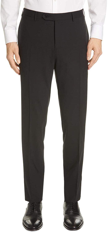 Luigi Bianchi Montova Mens Slim Fit Flat Front Wool Trousers 38 Black