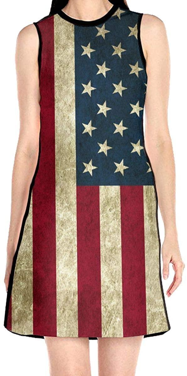 Vintage American Flag Women's Sleeveless Dress Casual Slim A-Line Dress Tank Dresses