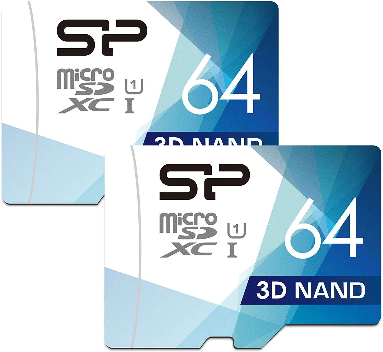 Silicon Power 64GB High Speed MicroSD Card with Adapter (2 Pack)