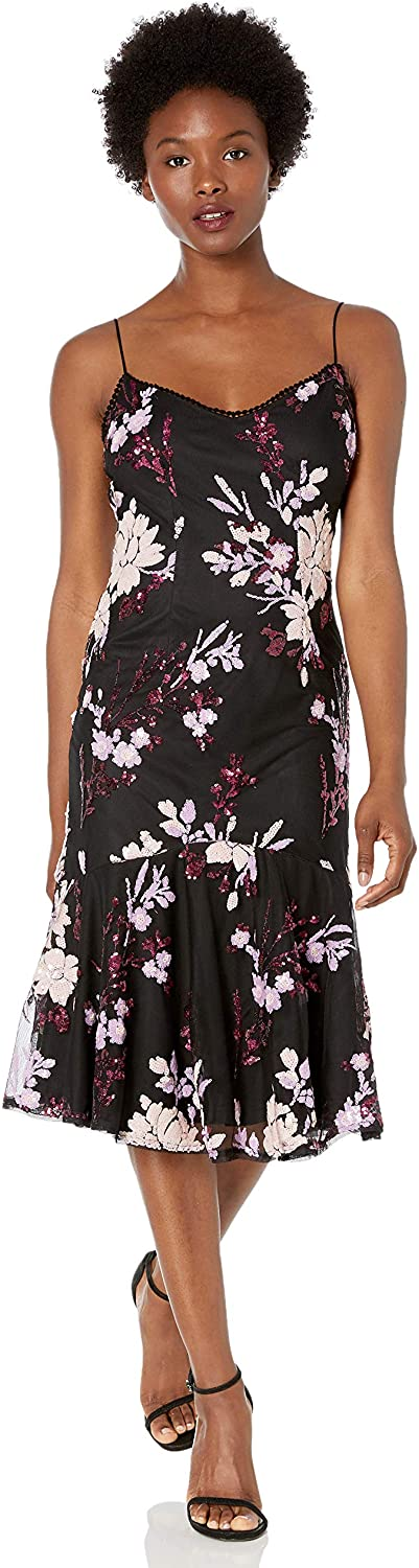 Adrianna Papell Womens Floral Sequin Midi Dress with Trumpet Hem