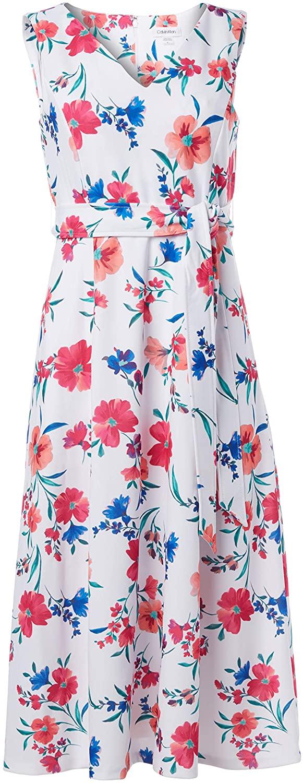 Calvin Klein Womens Sleeveless V Neck Midi Dress with Self Sash Waist