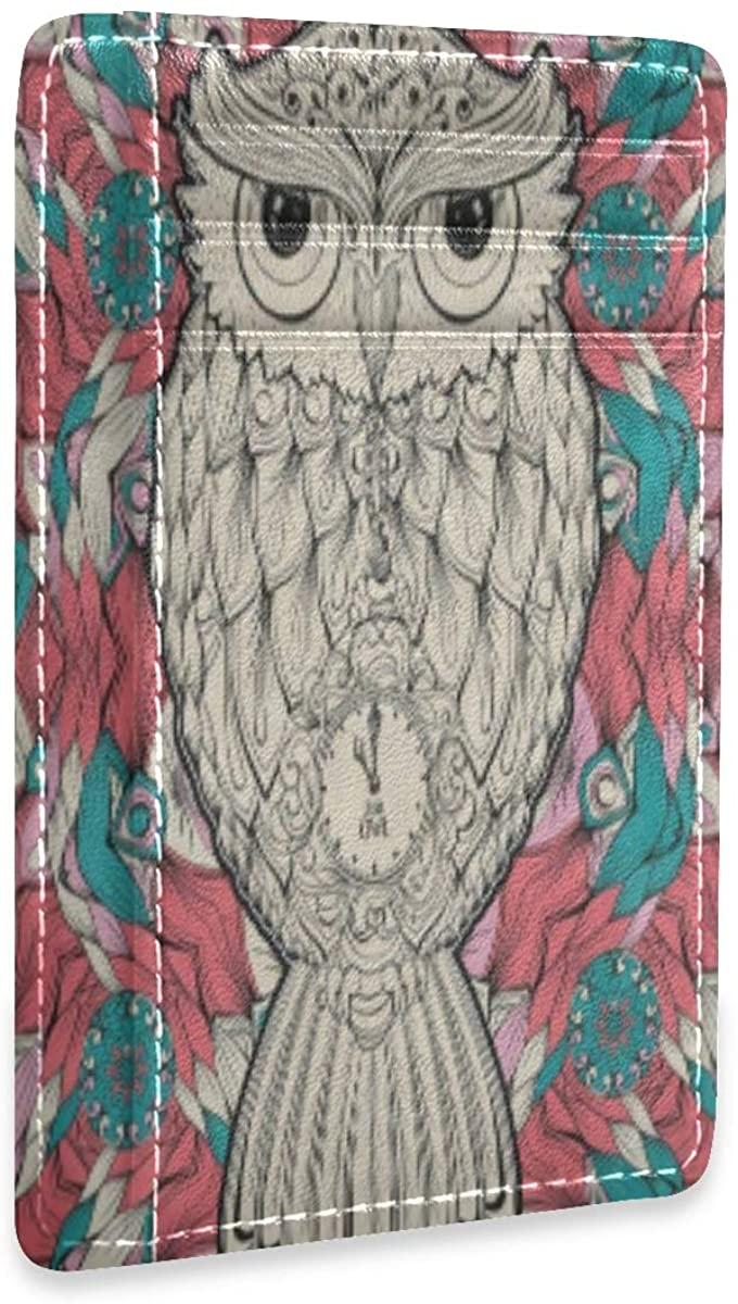 Rfid Credit Card Holders For Women Tribal Owl Bird Floral Flower Mens Front Pocket Wallet Slim Small