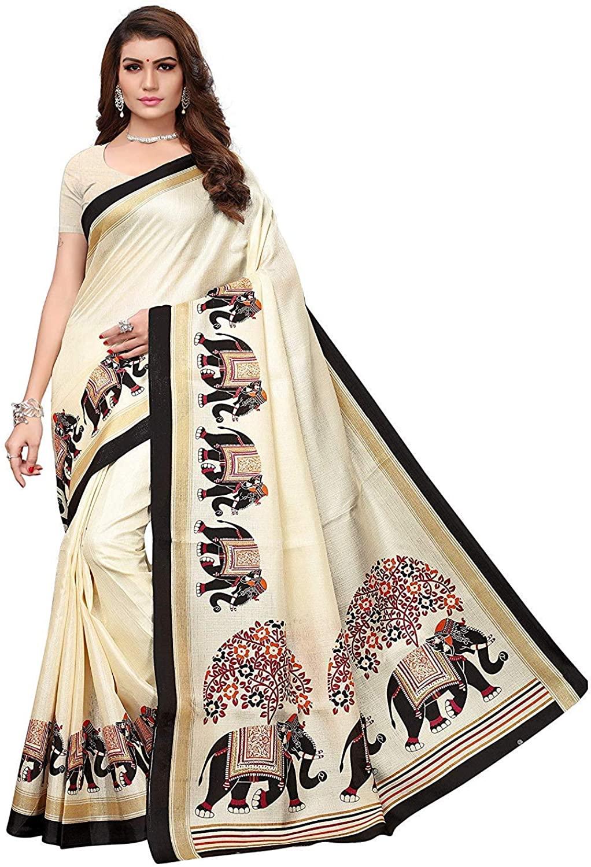 Indian Decor & Attire Art Silk with Blouse Piece Saree Off White