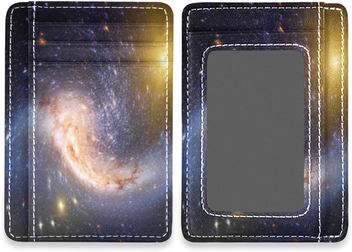 Amazing Stars Planet Galaxy Universe RFID Credit Card Holders Case Organizer Front Pocket Wallet Women Men