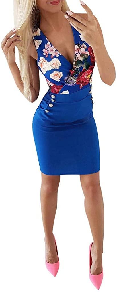 ☆HebeTop Women's Sexy V Neck Floral Printed Sleeveless Short Dress Fashion Ball Dress