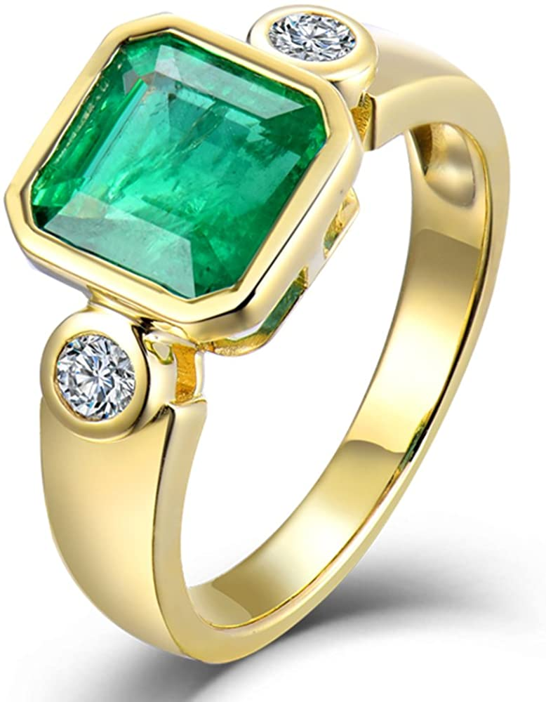 Beyond jewelry 14K Yellow Gold Natural Emerald Diamonds Rings Band Engagement Wedding for Women