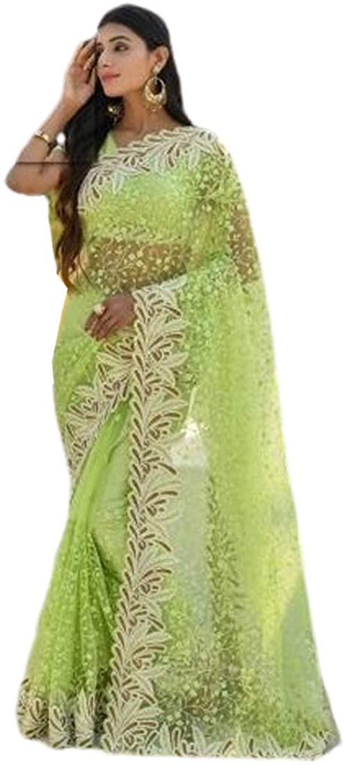 Light Green Festival Eid Party Wear Heavy Embroidery Net Indian Saree Sari Blouse Muslim Dress 9858B