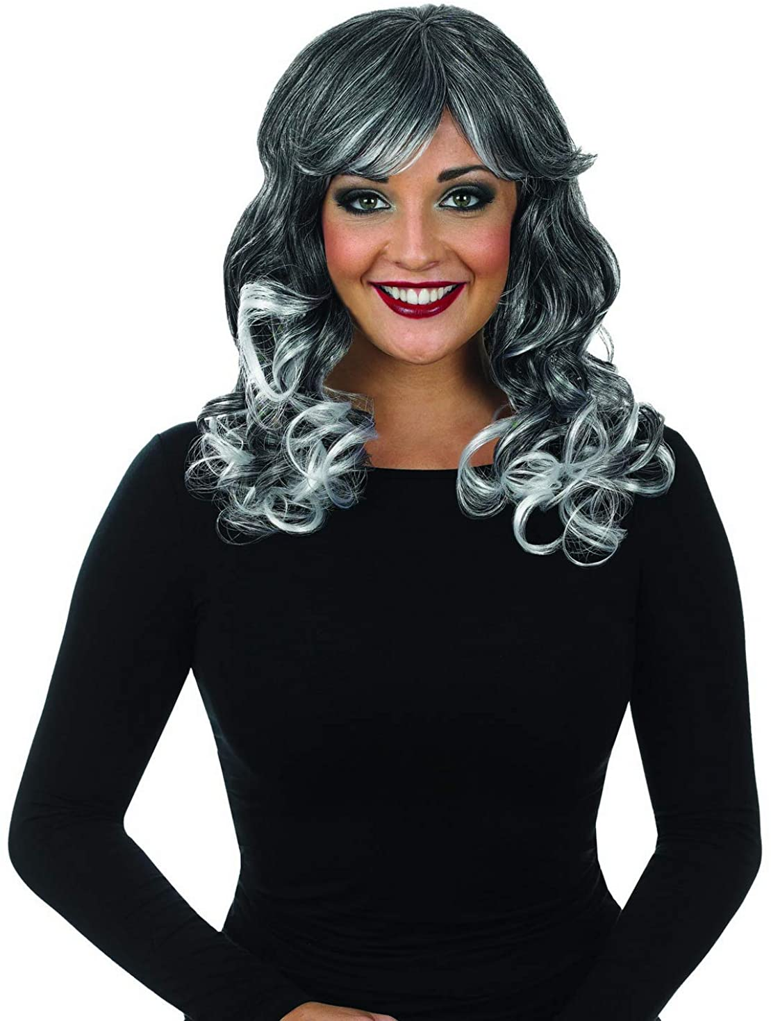 fun shack Womens Grey Curly Wig Adults Long Wavy Witch Hair Costume Accessory