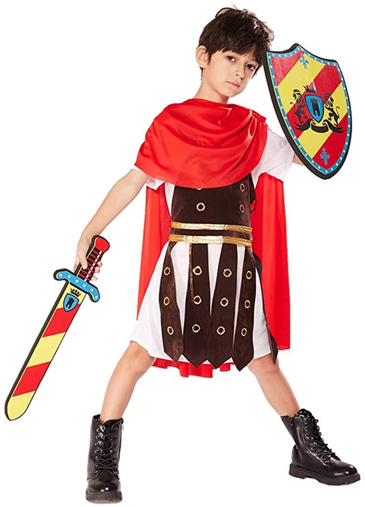 ReneeCho Boy's Gladiator Costume Halloween Spartan Roman Greek Warrior Toga Soldier
