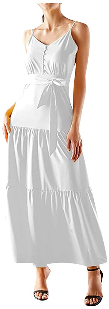 NDGDGA Women's Long Dress, Sleeveless V-Neck Lace Up Button Splice Sling Bohemia Dress