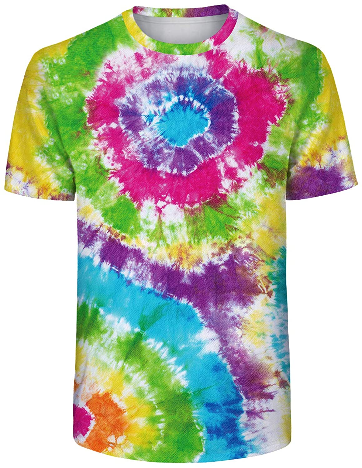 TENMET Unisex Colorful Tie Dye Shirts in Adult Sizes M-XXL Tie-Dyed Cool Tee for Men and Women
