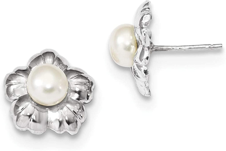 14k White Gold 5-6mm White Button FWC Pearl Flower Post Earrings, 14k White Gold