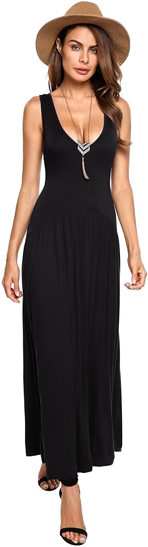 Beyove Womens Button up Slit Floral Print Flowy Sleeveless Strap Maxi Dress Sundress