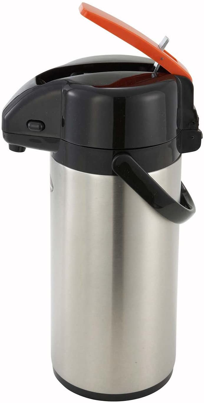 Winco Lever Top Decanter Decaf, 3-Liter, Stainless Steel Lined Airpot