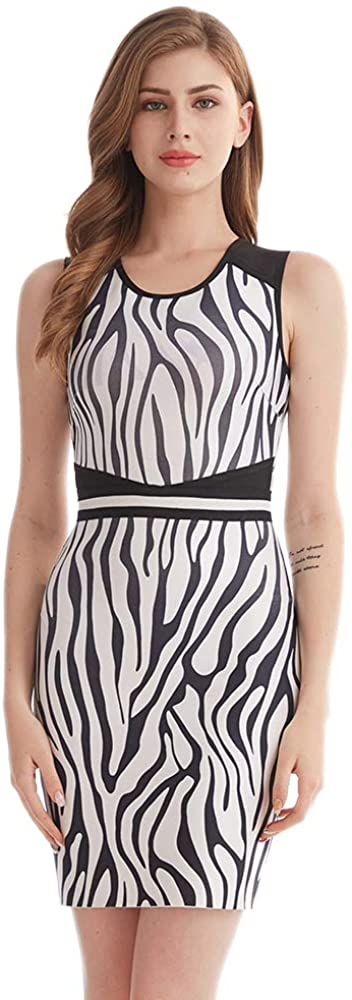 Yingfeini Womens Vintage Zebra Printing Bandage Dress Crew Neck Sleeveless Bodycon Dress for Work Party