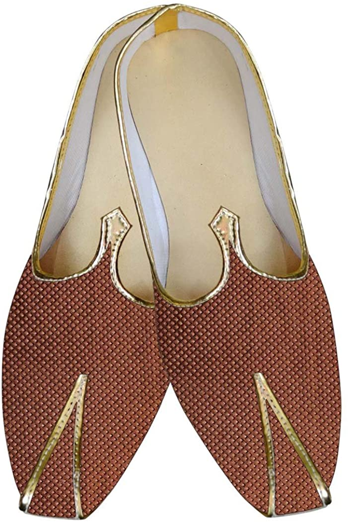 INMONARCH Mens Sherwani Shoes Brown Wedding Shoes Threading Box MJP015621