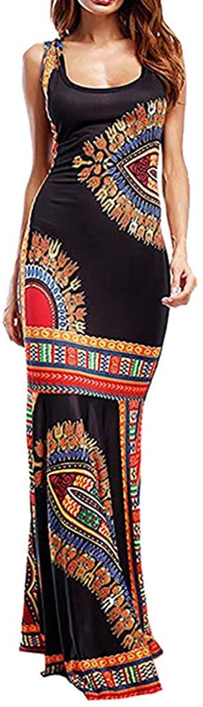 Cardigo Womens Boho Sleeveless Maxi Long African Evening Cocktail Dress