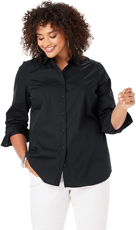 Roamans Women's Plus Size Three-Quarter Sleeve Kate Shirt