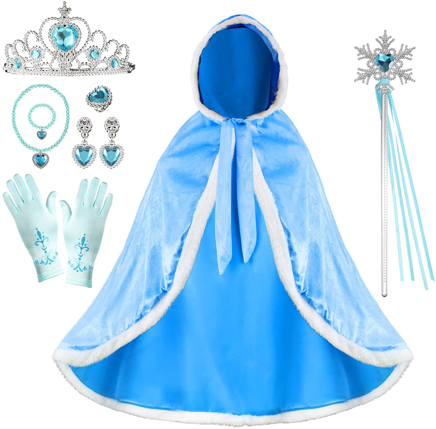 Geyoga Princess Dresses Girls Costumes with Faux Fur Princess Hooded Cape Cloak for Girls Birthday Halloween Party Cosplay