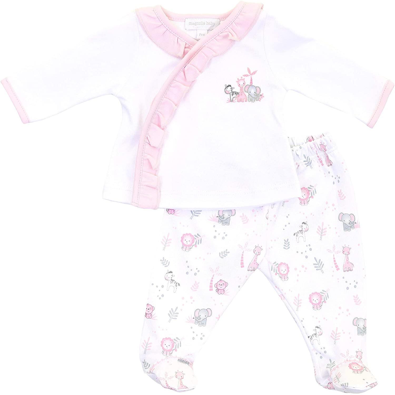Magnolia Baby Baby Girl Sweet Safari Printed Ruffle X-Tee Footed Pant Set Pink
