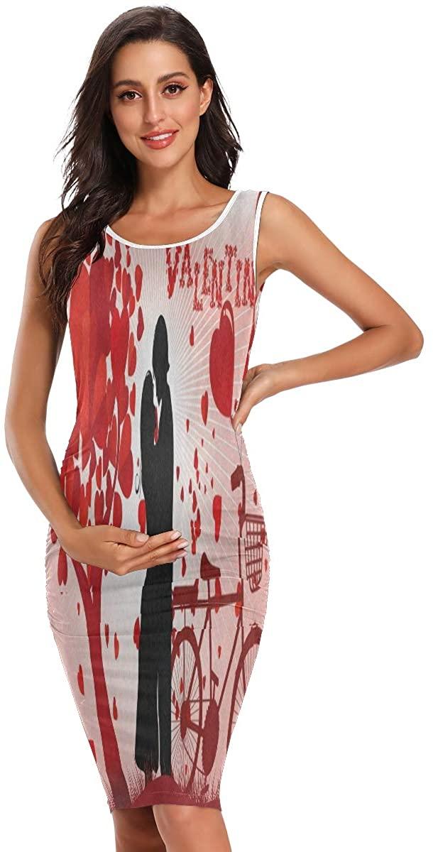 SLHFPX Happy Valentines Day Tree of Love Womens Maternity Dresses Casual Pregnancy Dresses Bodycon Midi Mama