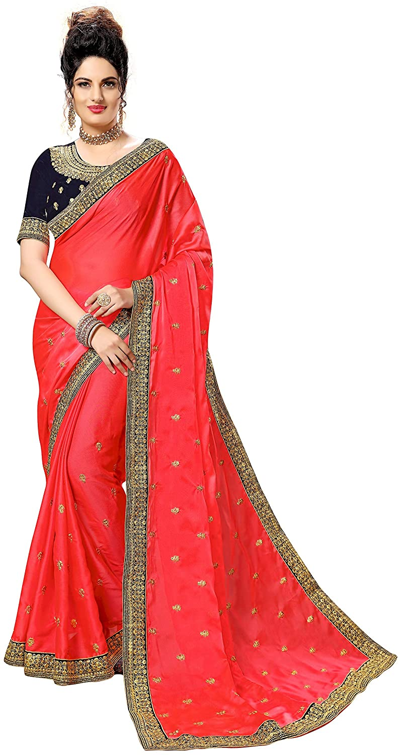 Sarvadarshi Fashion Women's Designer Fabric Georgette embroidery Pink Saree With Unstitched Blouse piece
