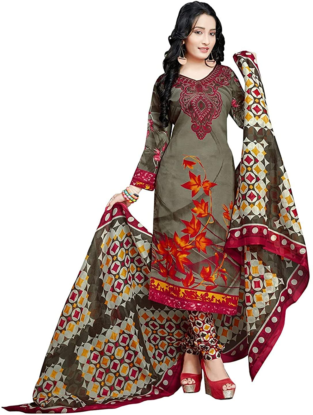 Indian Decor & Attire Women's Olive Green Cotton Printed Unstitched Salwar Suit Material (Free Size)