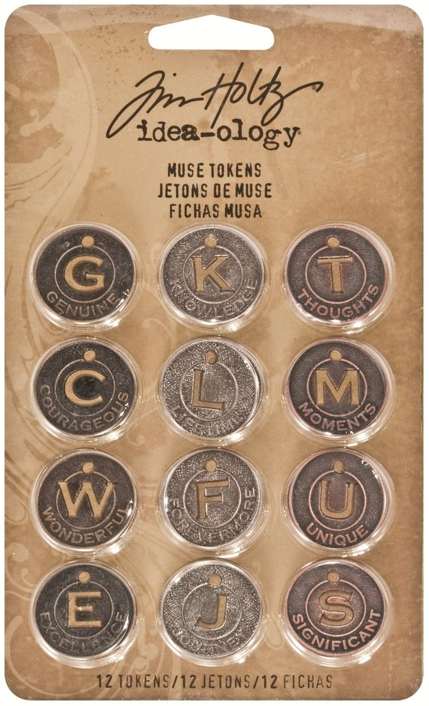 Metal Muse Tokens by Tim Holtz Idea-ology, 12 per Pack, 7/8 Inch Tokens, Antique Finishes, TH92676