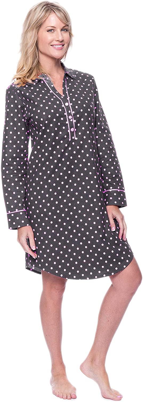 Noble Mount Womens Premium 100% Cotton Flannel Long Sleeve Sleep Shirt