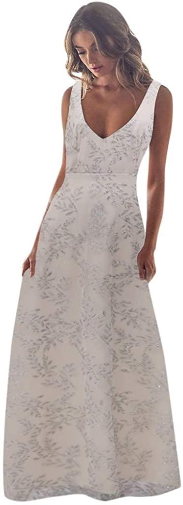 GLVSZ Womens Sequin Floral Print Deep V-Neck Bridesmaid Dress Sleeveless Maxi Evening Prom Dresses