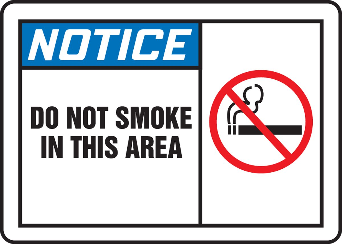 DO NOT SMOKE IN THIS AREA (W/GRAPHIC) (3 Pack)