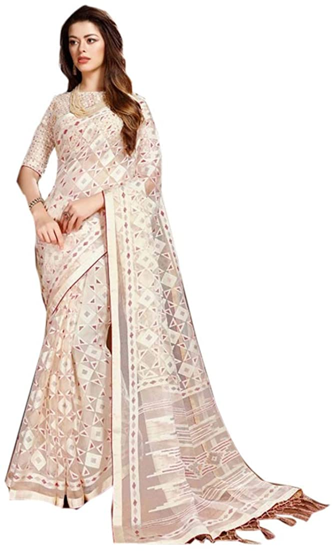 Soft Organza Stylish Party Festival Wear Printed Work Indian Saree Sari Blouse Muslim Dress 9966