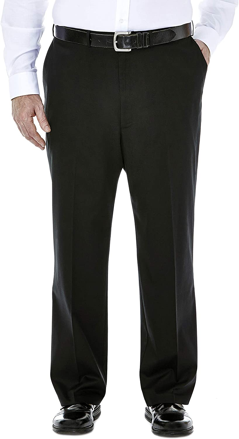 Haggar Men's Big-Tall Premium No Iron Classic Fit Expandable Waist Plain Front Pant Black 48x34