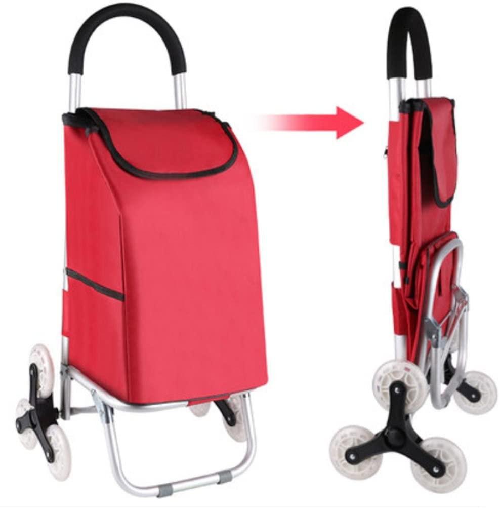 Effortsmy Lightweight Aluminum Alloy 6 Wheel Shopping Trolley, Hard Wearing & Foldaway for Easy Storage, red